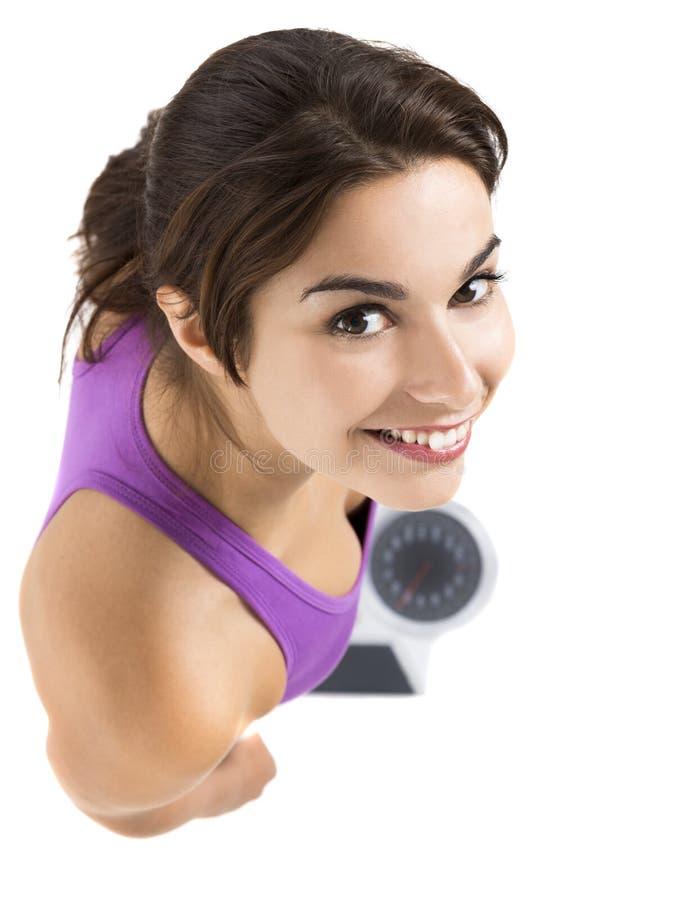 Schöne und glückliche athletische Frau stockbilder
