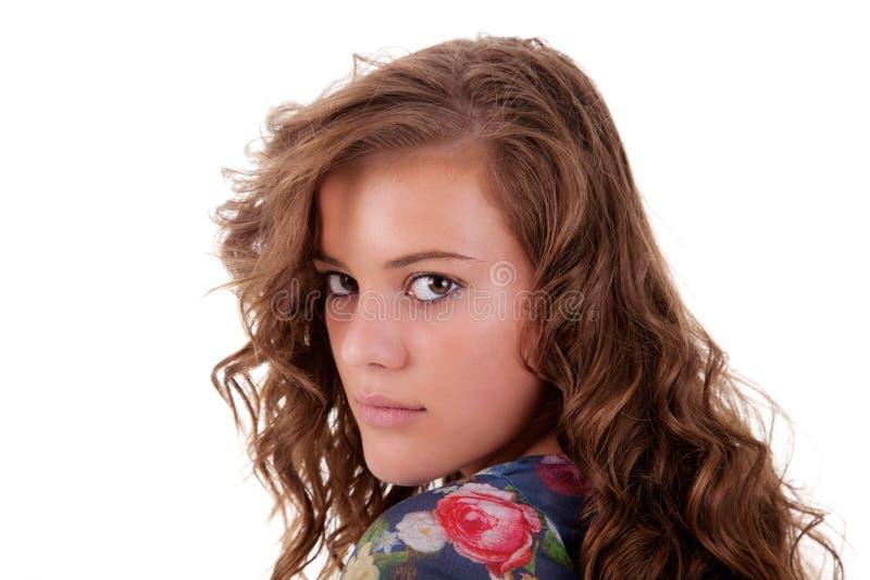 Schöne und traurige junge Frau, zurück schauend lizenzfreies stockbild