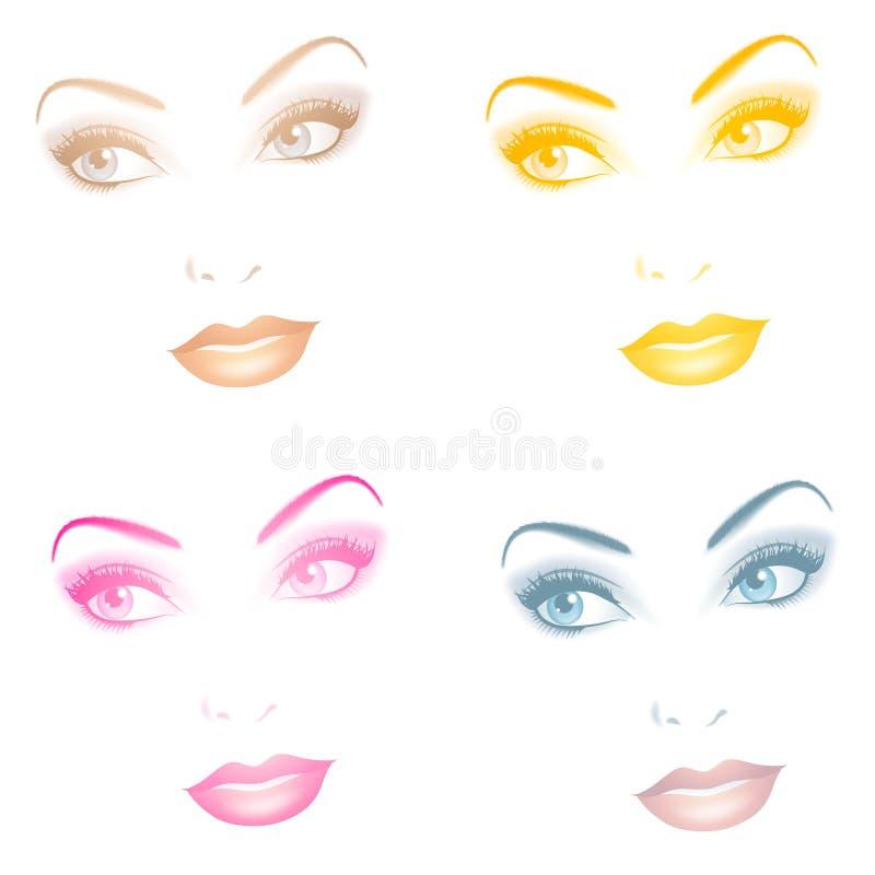 Schöne undurchlässige weibliche Gesichter lizenzfreie abbildung