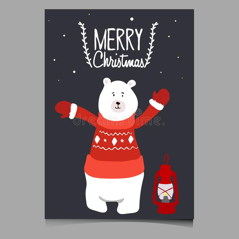 Schöne Vektor Weihnachtsillustration mit nettem Bären Frohe Weihnacht-Karte Stilvolle Illustration lizenzfreies stockfoto