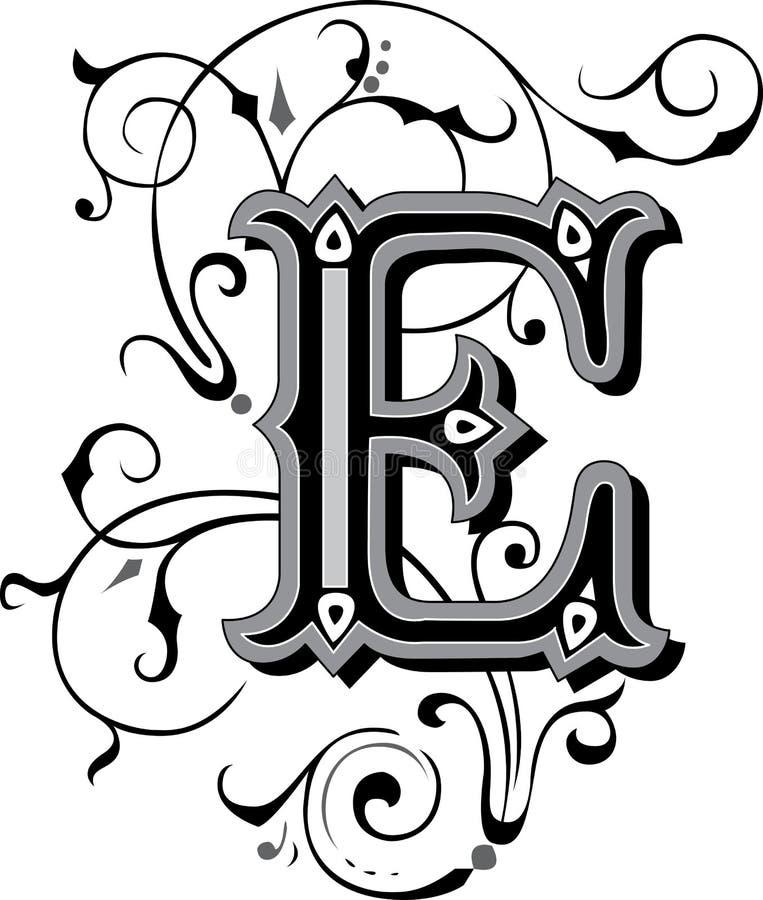 Schöne Verzierung, Buchstabe E Vektor Abbildung - Illustration von ...