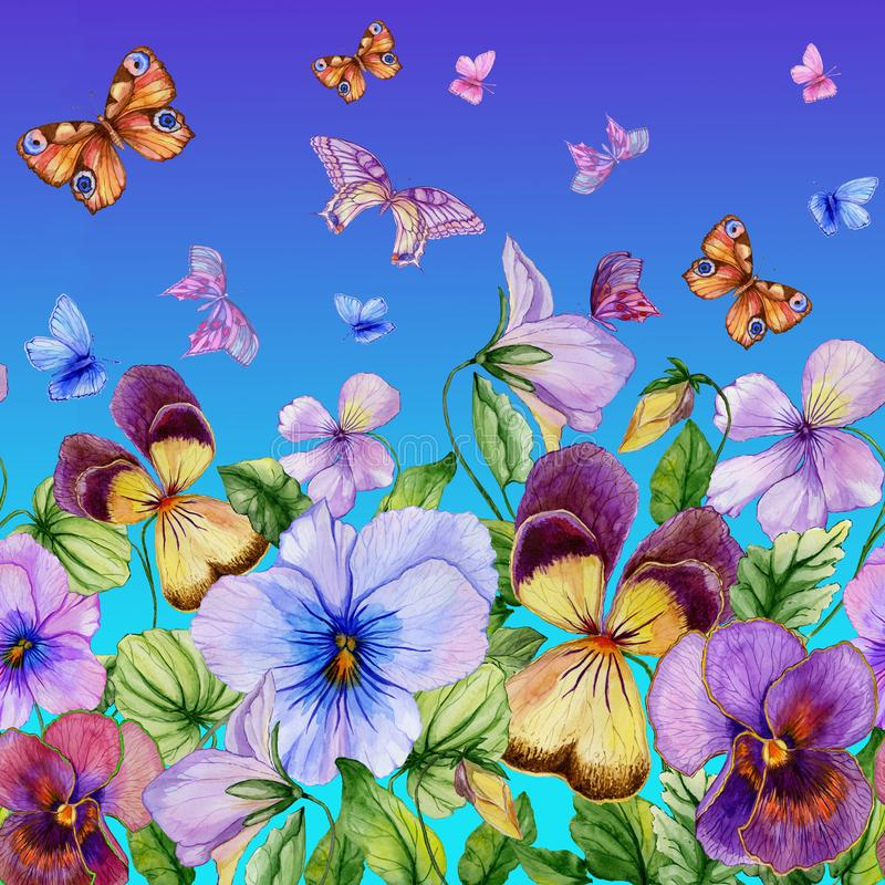 Schöne vibrierende violette Blumen und bunte Schmetterlinge auf blauem Hintergrund Nahtloses Blumenmuster Adobe Photoshop für Kor stock abbildung