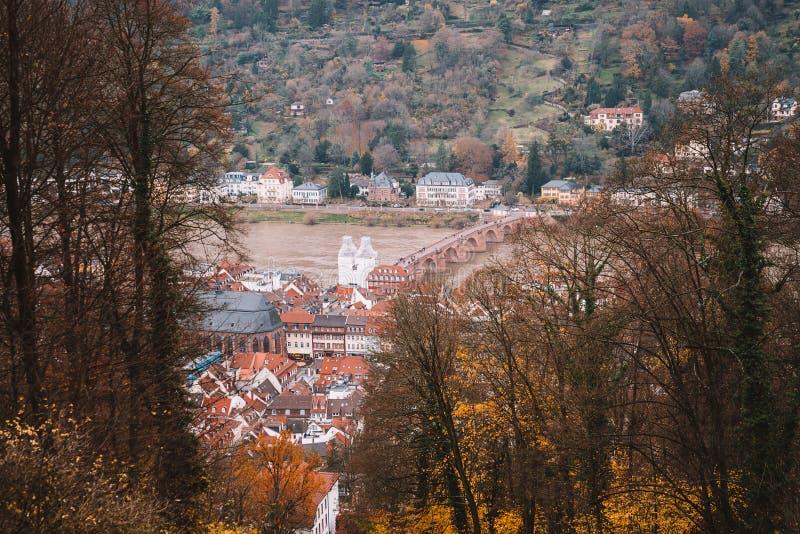 Schöne Vogelperspektive der alten Stadt Heidelbergs stockfotografie