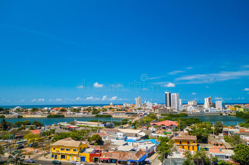 Schöne Vogelperspektive von Cartagena, Kolumbien stockfotos