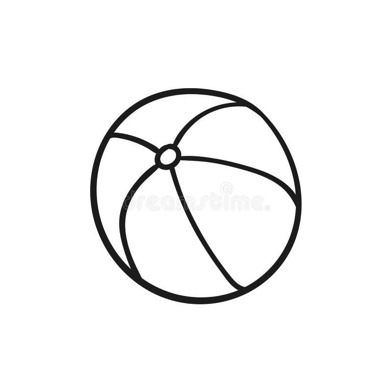 Schöne von Hand gezeichnete umrissene Ikone eines Wasserballs lizenzfreie abbildung