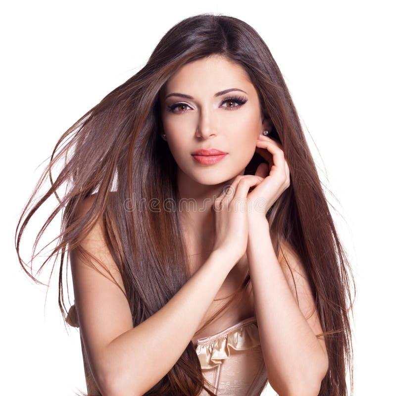 Schöne weiße hübsche Frau mit dem langen geraden Haar stockfotos