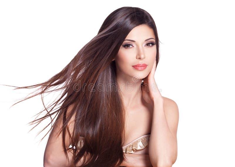 Schöne weiße hübsche Frau mit dem langen geraden Haar lizenzfreies stockfoto
