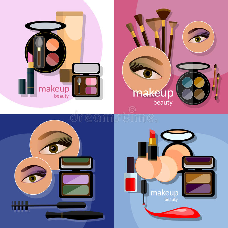Schöne weibliche Augenkosmetik des Makes-up bezaubernd stock abbildung