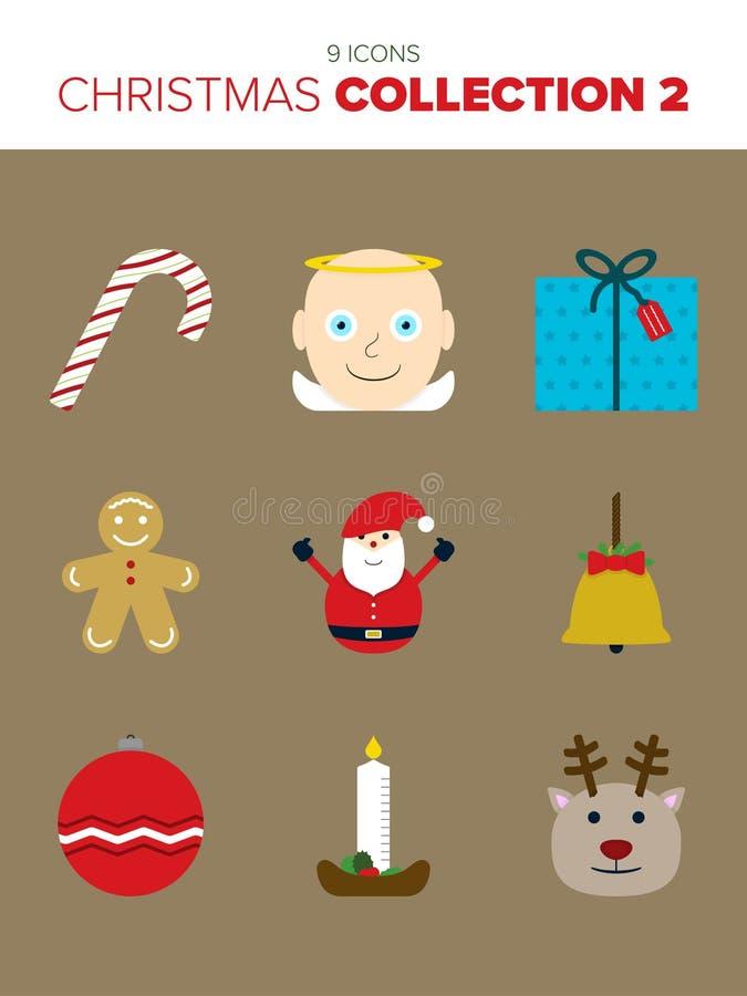9 schöne Weihnachtsikonen lizenzfreie abbildung