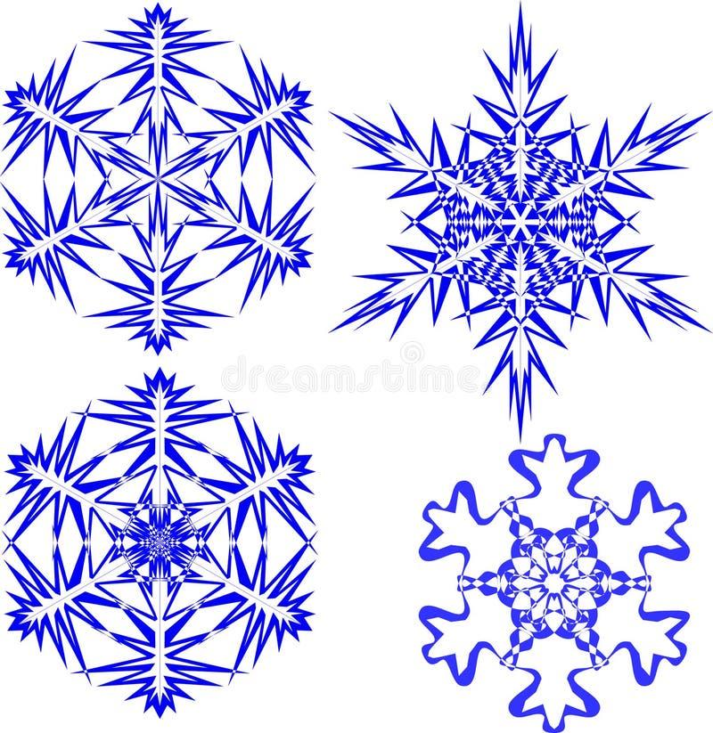 Schöne Weihnachtsschneeflocken Ganzer Satz von 4 Sachen 10 stock abbildung