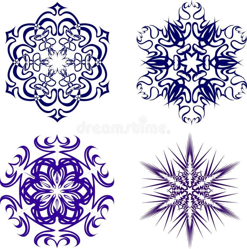 Schöne Weihnachtsschneeflocken Ganzer Satz von 4 Sachen 5 vektor abbildung