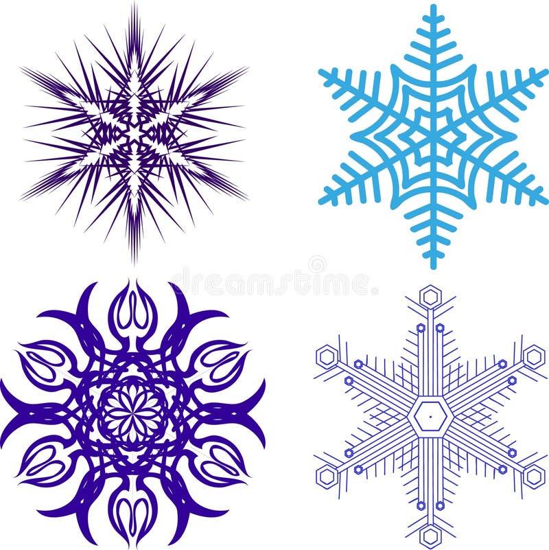 Schöne Weihnachtsschneeflocken Ganzer Satz von 4 Sachen 9 vektor abbildung