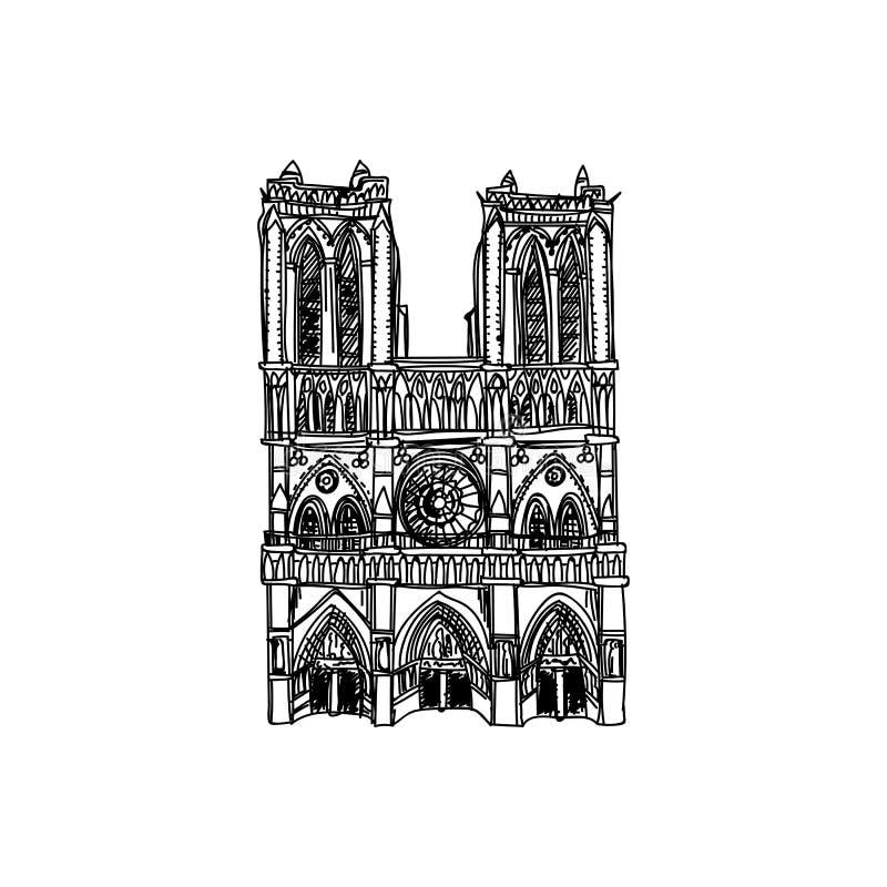 Schöne Weinlesefrankreich-Architektur Illustration des Vektors Hand gezeichnete stock abbildung