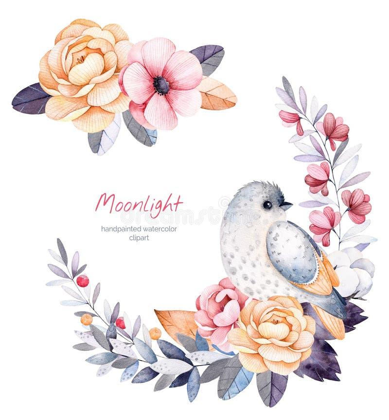 Schöne Winterkollektion mit Niederlassungen, Baumwollsträucher, Blumen, kleiner Vogel stock abbildung