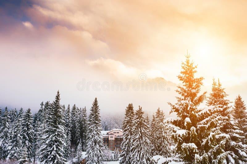 Schöne Winterlandschaft bei Sonnenuntergang in den Dolomit, Italien lizenzfreie stockfotografie