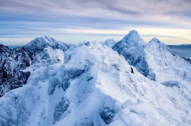 Schöne Winterlandschaft mit einsamem Bergsteiger und geschneiten Bergen, Slowakei lizenzfreie stockfotos