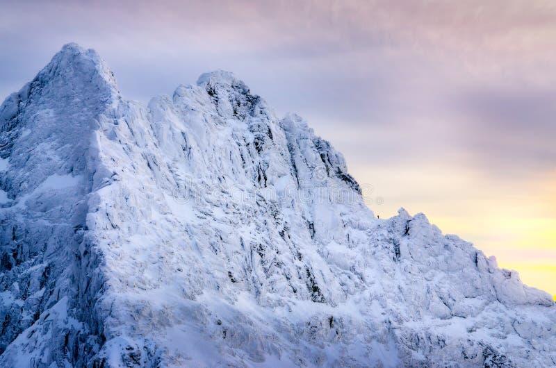 Schöne Winterlandschaft mit einsamem Bergsteiger und geschneiten Bergen, Slowakei lizenzfreies stockbild