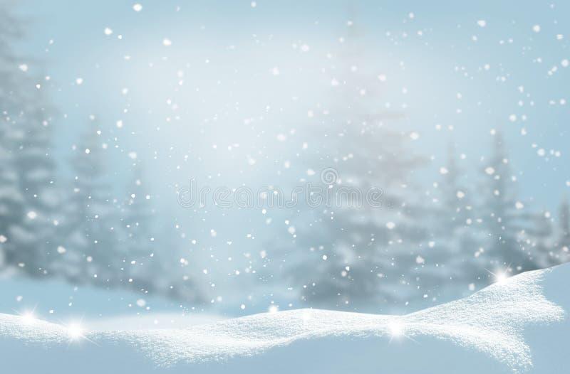 Schöne Winterlandschaft mit Schnee deckte Bäume ab Weihnachtsbac lizenzfreie stockfotografie