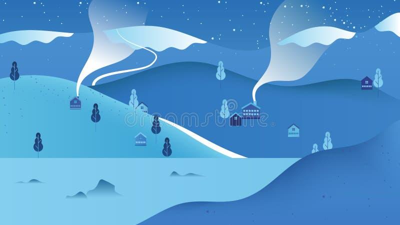 Schöne Winterlandschaftslandschaft, kleines Dorf gelegen auf dem Berg mit See lizenzfreie abbildung