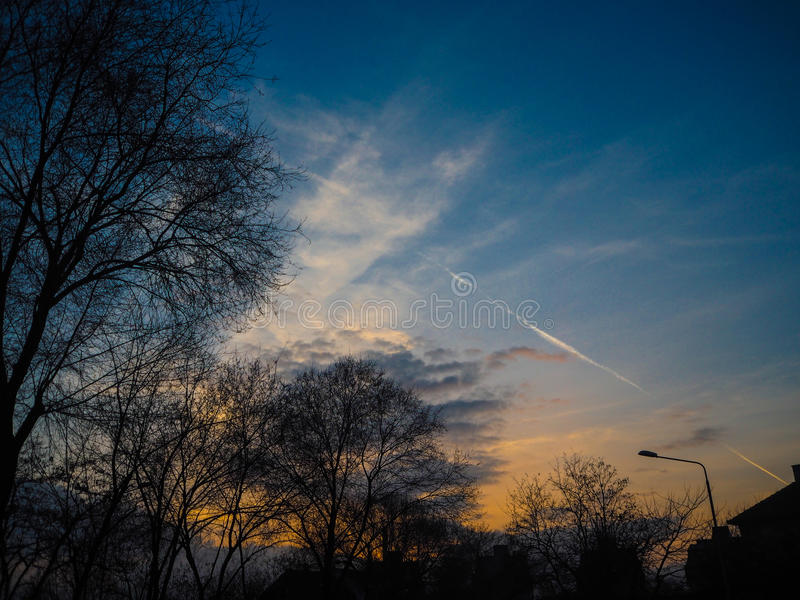 Schöne Wolken mit Baum lizenzfreie stockfotos