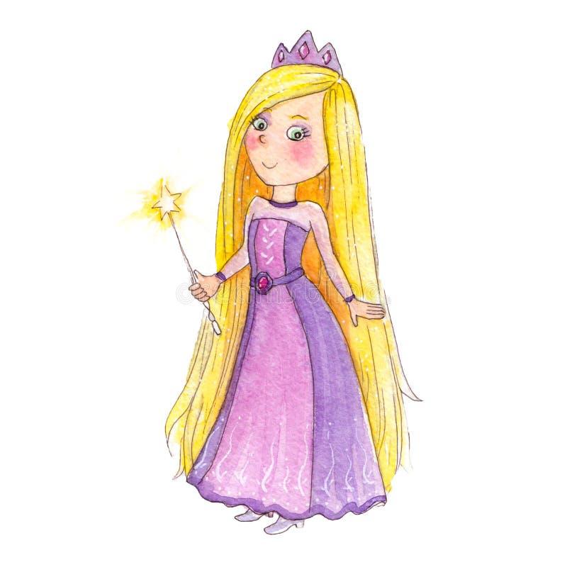 Schöne Zeichentrickfilm-Figur einer kleinen entzückenden Prinzessin, die ein langes rosa und lila Kleid trägt und einen magischen lizenzfreie abbildung