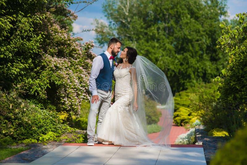 Schöne zufällige Hochzeitspaare, die gehen zu küssen lizenzfreies stockbild