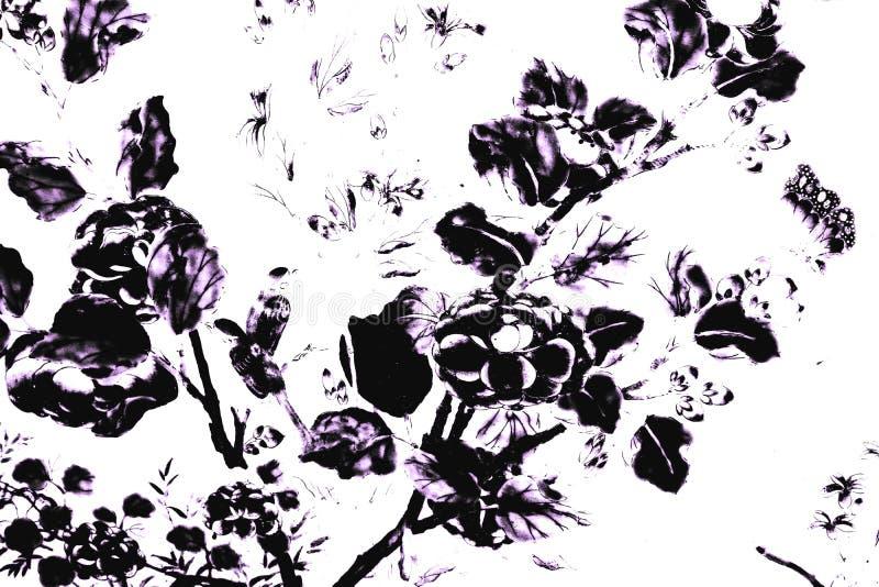 Schöne Zusammenfassungsbeschaffenheit Schwarzweiss die Baumblätter und -vögel auf weiße Wand lokalisiertem Musterhintergrund und  lizenzfreie abbildung