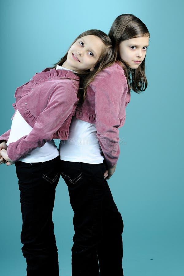 Schöne Zwillinge, die im Studio aufwerfen lizenzfreies stockbild