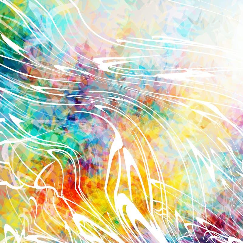 Schöner abstrakter Hintergrund mit Sprays der weißen Farbe Bunte grunge Beschaffenheit Weiße Kurven Verzerrte Linien stock abbildung
