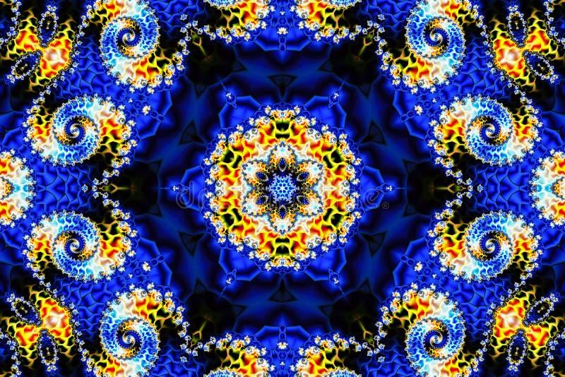 Schöner abstrakter Hintergrund, welche einer mehrfarbigen leuchtenden Verzierung und aus Fractalspiralen auf einem blauen Hinterg vektor abbildung