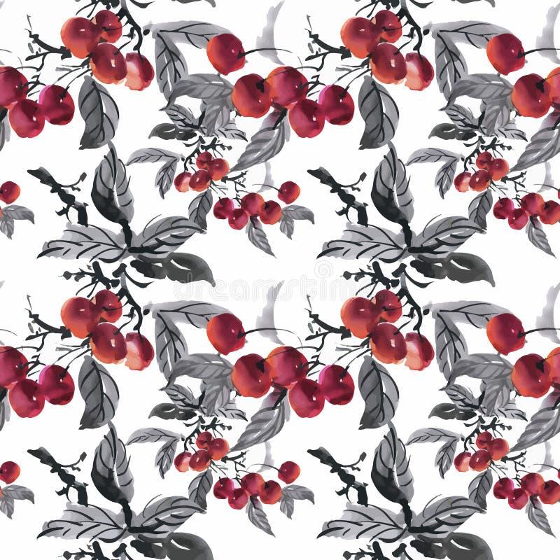 Schöner Aquarell-Sommer-Garten-blühendes Blumen-nahtloses Muster lizenzfreie abbildung