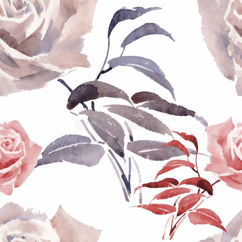 Schöner Aquarell-Sommer-Garten-blühendes Blumen-nahtloses Muster stock abbildung