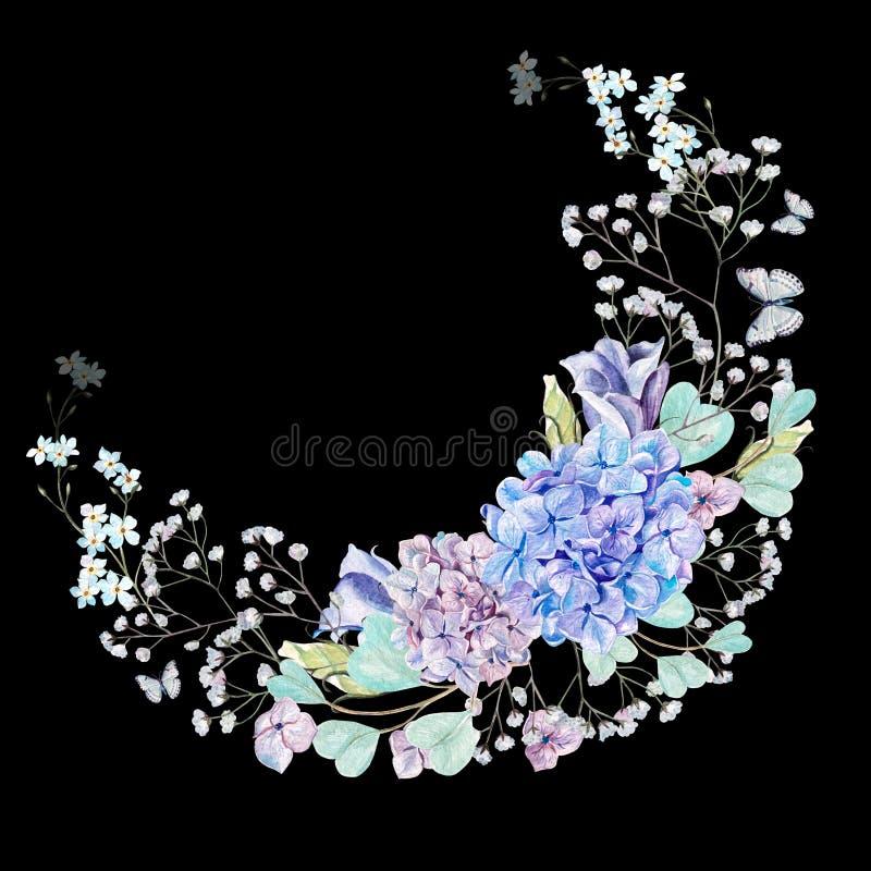 Schöner Aquarellkranz mit Eukalyptusniederlassungen und -Hortensie blüht, eustomiya, Wildflowers lizenzfreie abbildung