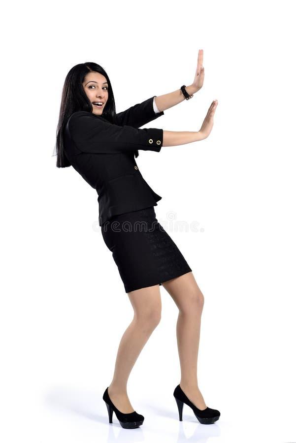 Schöner attraktiver Geschäftsfraudruck lizenzfreie stockfotografie