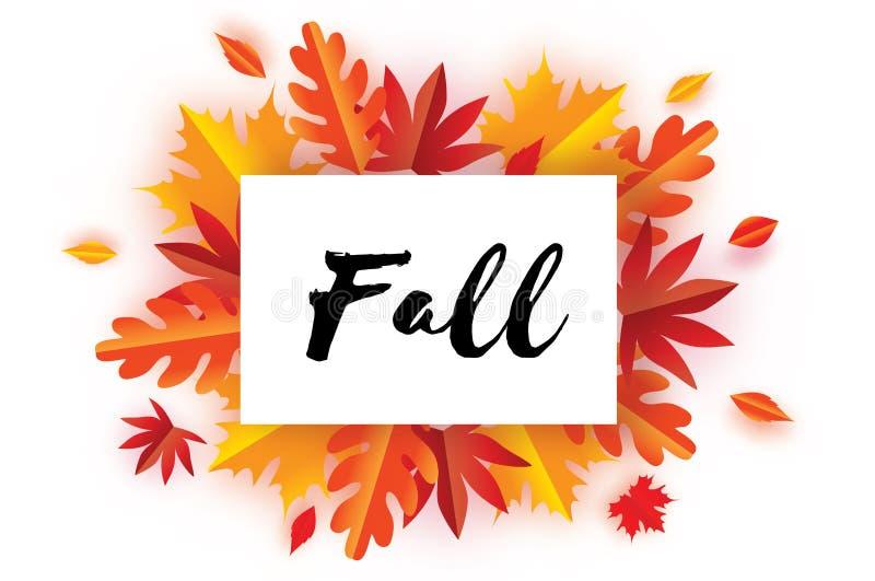 Schöner Autumn Fall Paper Cut Leaves Hallo Herbst September-Fliegerschablone Rechteck-Rahmen Raum für Text origami lizenzfreie abbildung