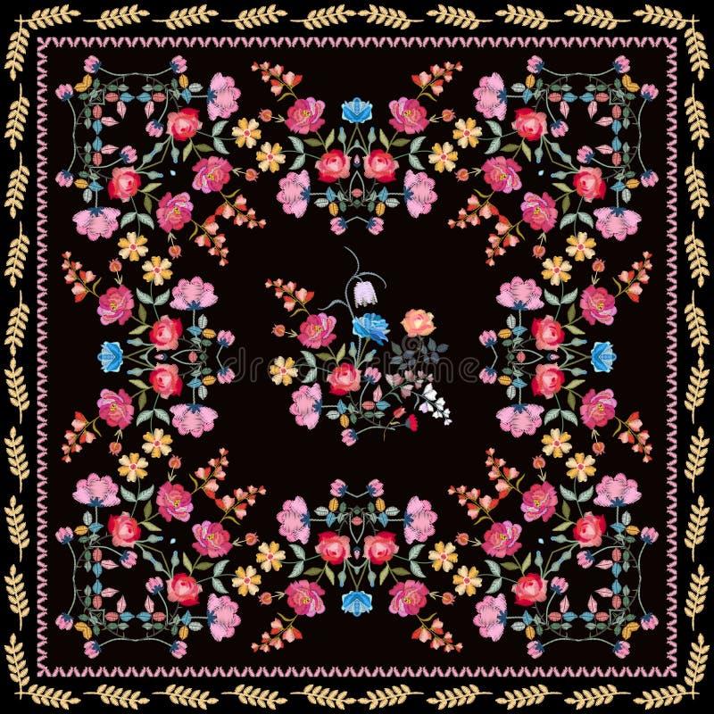 Schöner Bandanadruck mit gestickten Blumenzusammensetzungen und Grenze von den Blättern Reizende Tischdecke mit bunten Blumen lizenzfreie abbildung