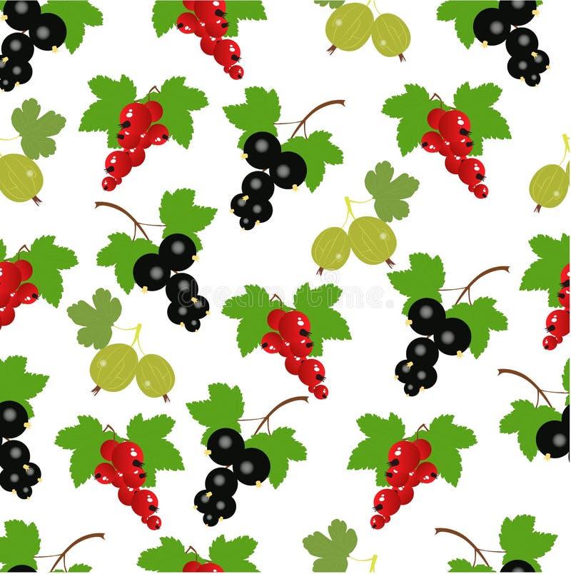 Schöner Beerenhintergrund rote Johannisbeeren, Schwarze Johannisbeeren vektor abbildung