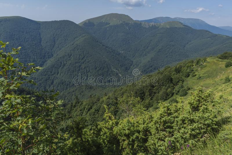Schöner Bergblick von den Eingängen auf dem Weg zur Eho-Hütte Das Troyan Balkan ist außergewöhnlich malerisch und bietet a an lizenzfreie stockbilder