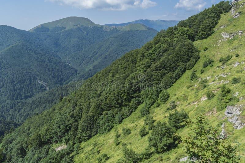 Schöner Bergblick von den Eingängen auf dem Weg zur Eho-Hütte Das Troyan Balkan ist außergewöhnlich malerisch und bietet a an stockbilder