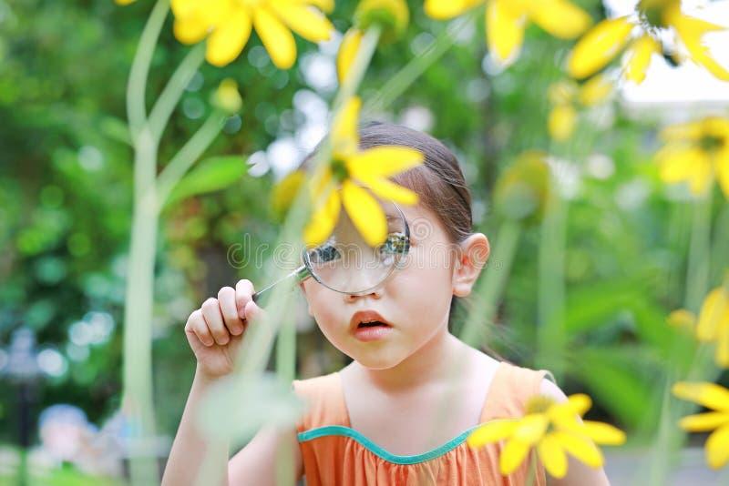 Schöner Blütenschrei des entzückenden kleinen asiatischen Kindermädchenforschers lizenzfreie stockfotos