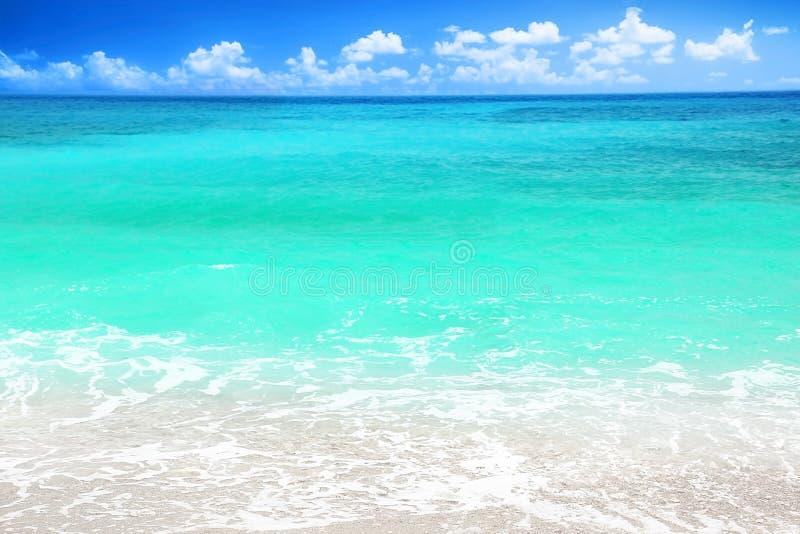 Schöner blauer Seestrand stockbild