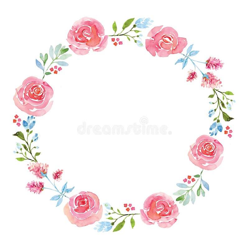 Schöner Blumenaquarellkranz vektor abbildung