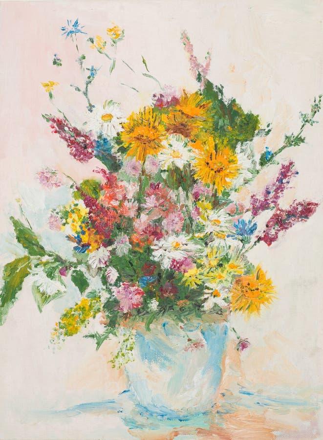 Schöner Blumenblumenstrauß, Ölgemälde lizenzfreie abbildung