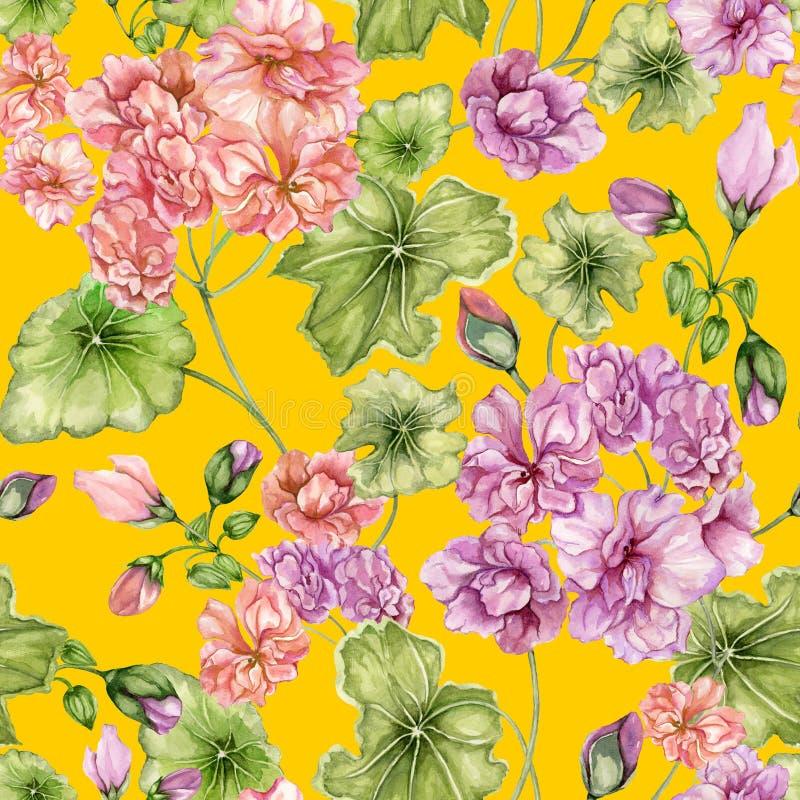 Schöner Blumenhintergrund mit Pelargonienblumen und -blättern Nahtloses botanisches Muster Adobe Photoshop für Korrekturen Abstra vektor abbildung
