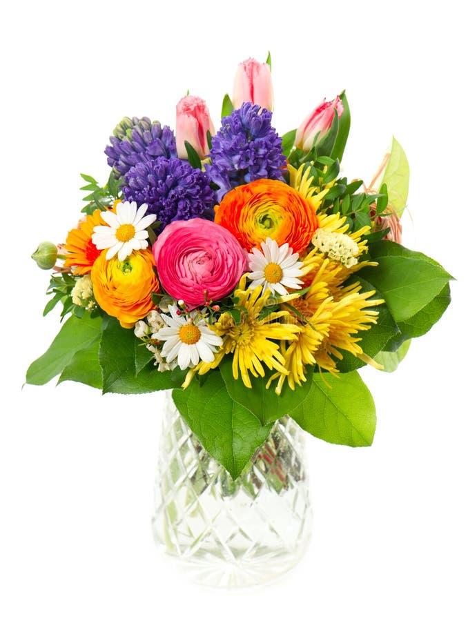 Schöner Blumenstrauß der bunten Frühlingsblumen lizenzfreies stockfoto