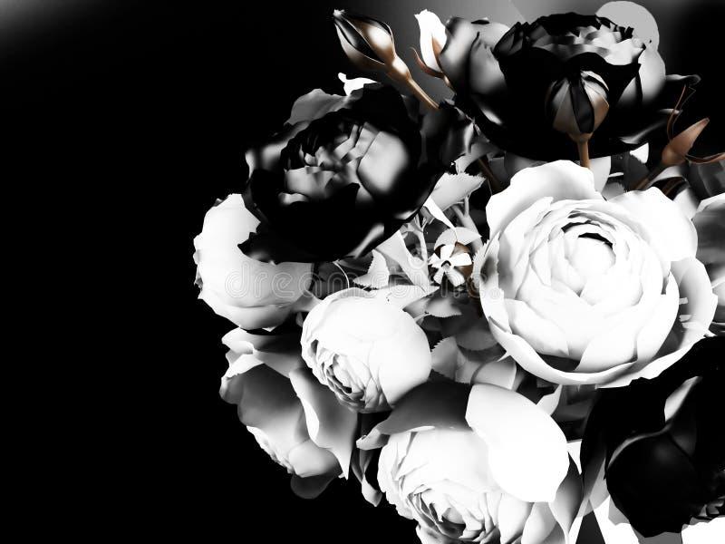 Schöner Blumenstrauß mit Rosen vektor abbildung