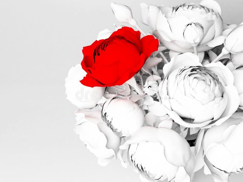 Schöner Blumenstrauß mit Rosen lizenzfreie abbildung