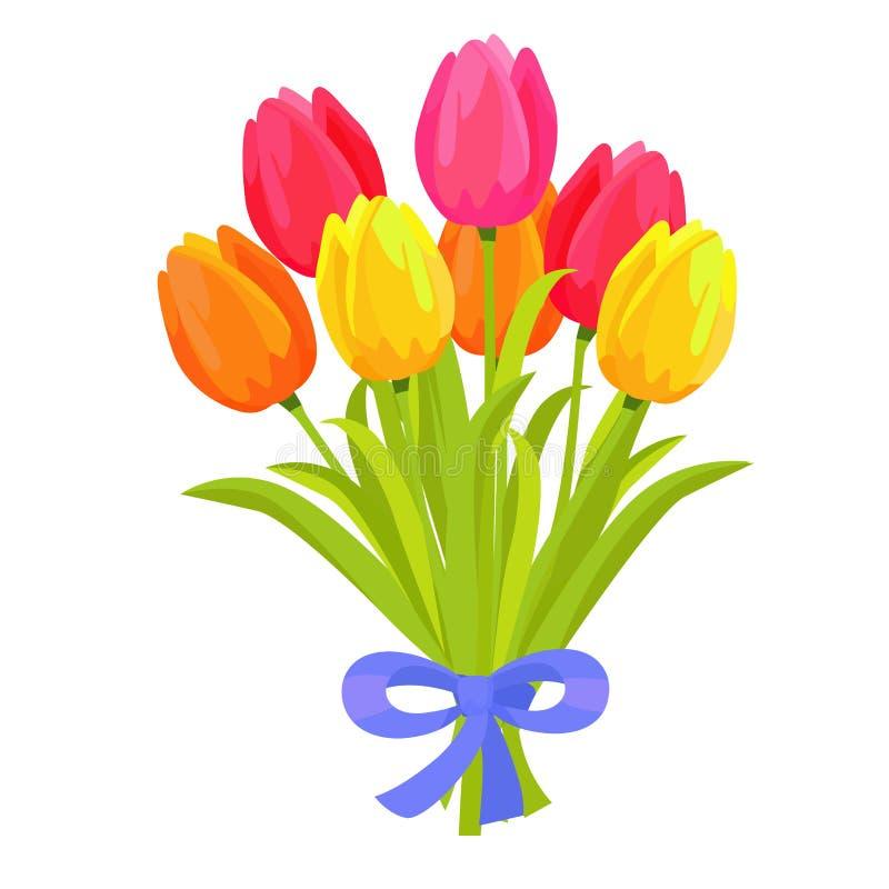Schöner Blumenstrauß von sieben mehrfarbigen Tulpen stock abbildung