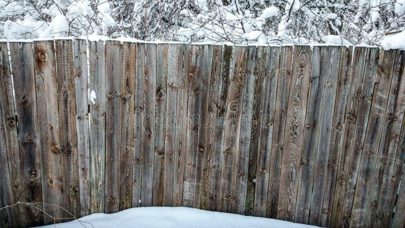 Schöner Bretterzaun im Winter Planken bedeckt mit Schnee Gegen Hintergrund von den Büschen und von Bäumen gestreut mit Schnee stockbild