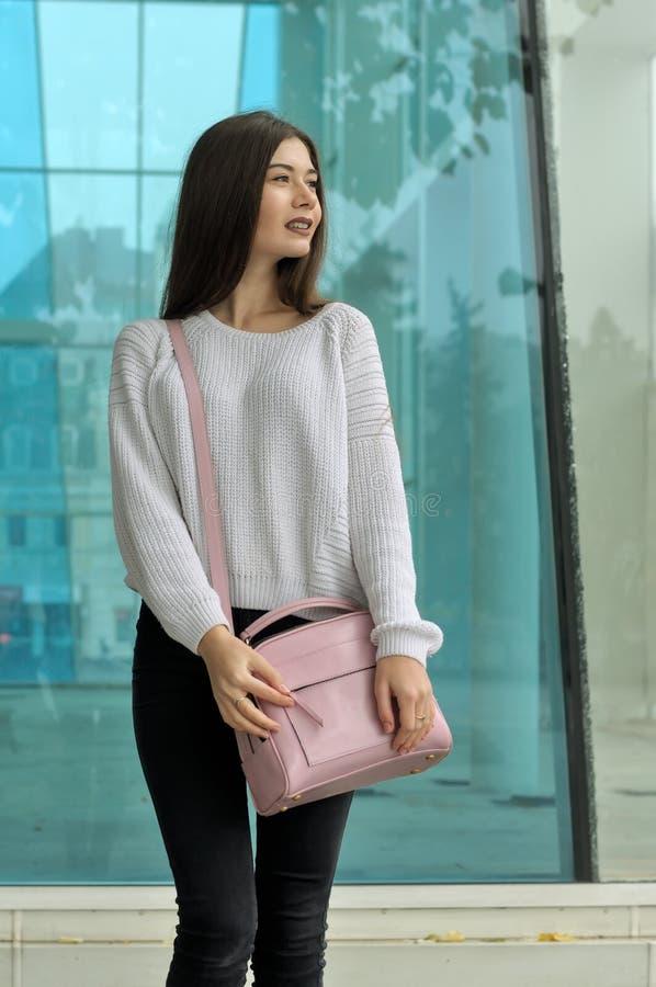 Schöner Brunette mit dem langen Haar, das mit einer rosa Handtasche steht stockfoto